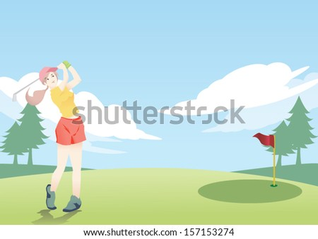 lady golfer background - stock vector