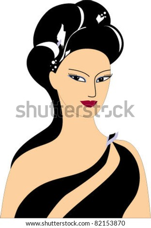 Lady in black - stock vector