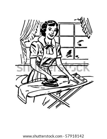 Lady Ironing - Retro Clip Art