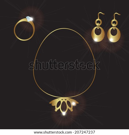 lady jewels gold set eps10