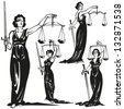 Lady justice Four brush-drawing based illustrations of allegorical justice - stock photo