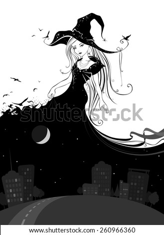 Lady Night. Illustration in black and white colours.  - stock vector