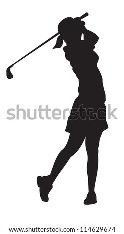 Lady professional golfer playing golf - stock vector