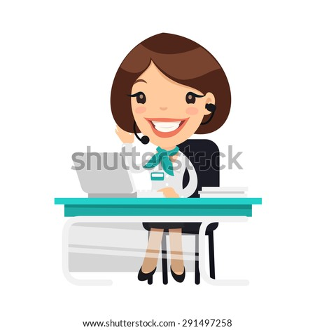 Lady Receptionist at the Clinic. Isolated on white background. - stock vector