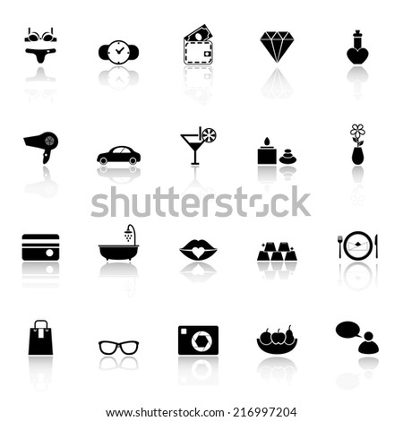 Lady related item icons with reflect on white background, stock vector - stock vector