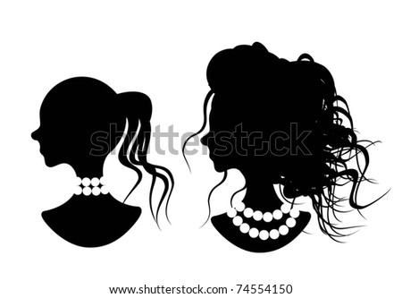 lady - silhouette - stock vector