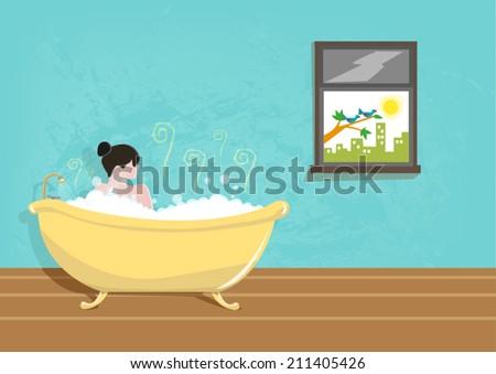 lady taking a bath using a vintage tub vector - Vintage Tub