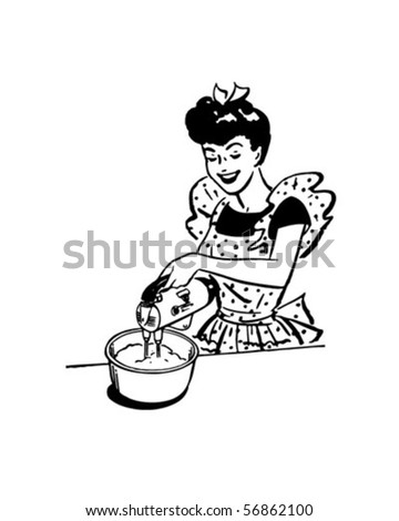Lady With Electric Beater - Retro Clip Art - stock vector
