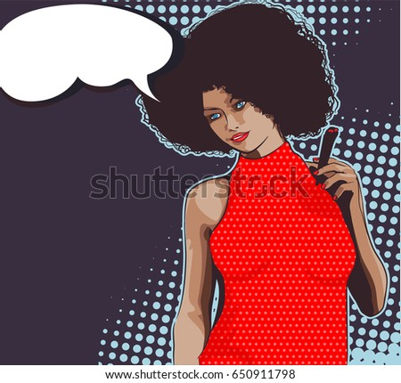Lady with joint. Red dress. Marijuana joint in her hand. Text bubble and dots halftone background.