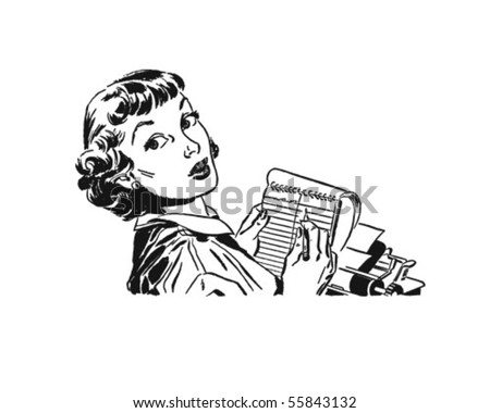 Lady With Notepad Ready To Take A Letter - stock vector