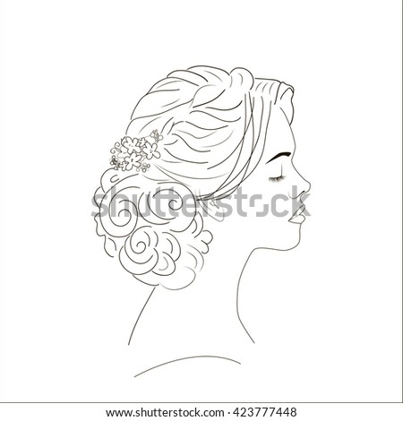 Lady with wedding hair styling.  - stock vector