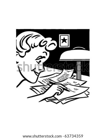 Lady Writing A Letter - Retro Clipart Illustration