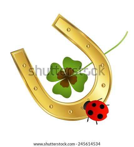 ladybird, horseshoe and shamrock leaf  - stock vector