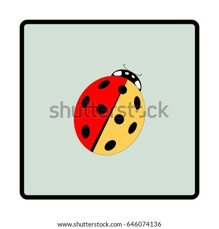 Ladybird Isolated Illustration Ladybug Green Frame Stock Vector ...