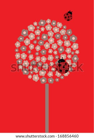 ladybird on flower poster template vector/illustration /background/ greeting card - stock vector