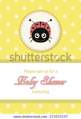 ladybug greeting card, baby shower