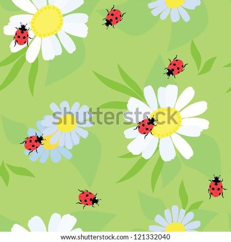 ladybug on a flower,  seamless - stock vector