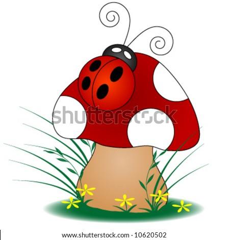 Ladybug on a Mushroom. - stock vector