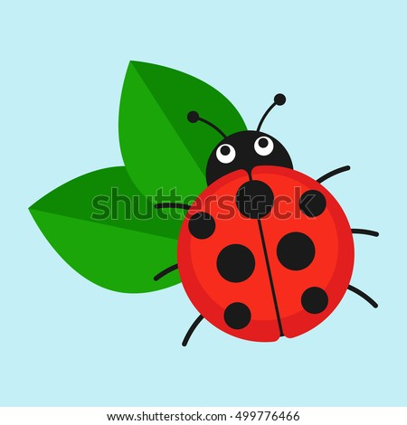 Ladybug On Leaf Vector Illustration. Cartoon Ladybug Isolated In A Flat  Style. Funny Insects