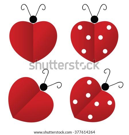 ladybug red heart illustration - stock vector