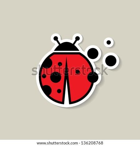 Ladybug sticker - vector illustration - stock vector