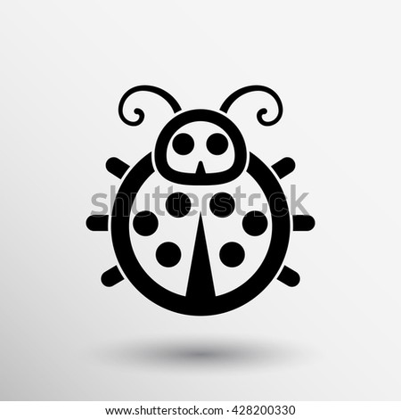 ladybug vector icon symbol small illustration summer.
