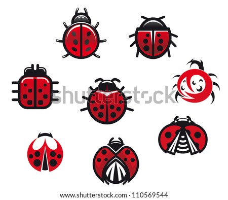 Ladybugs and ladybirds set in icon style isolated on white background, such a logo. Jpeg version also available in gallery - stock vector
