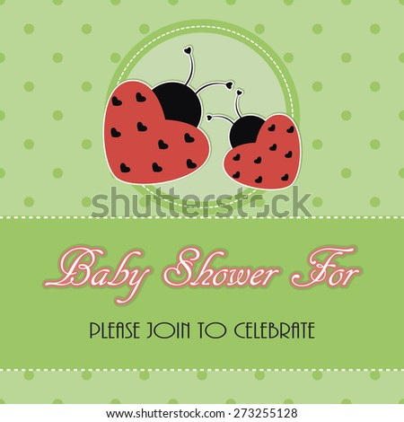 ladybugs greeting card, baby shower - stock vector