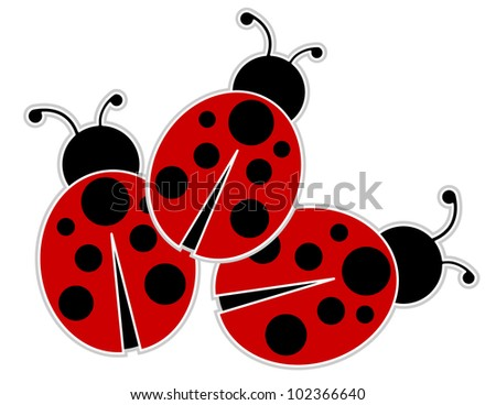 Ladybugs - Ladybugs outlined and set on a green abstract grass background - stock vector