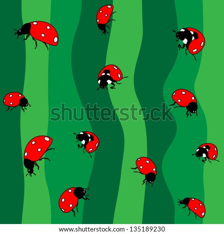 Ladybugs on green. Seamless - stock vector