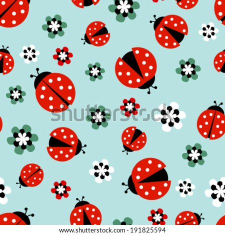 ladybugs with flowers on light blue seamless pattern - stock vector