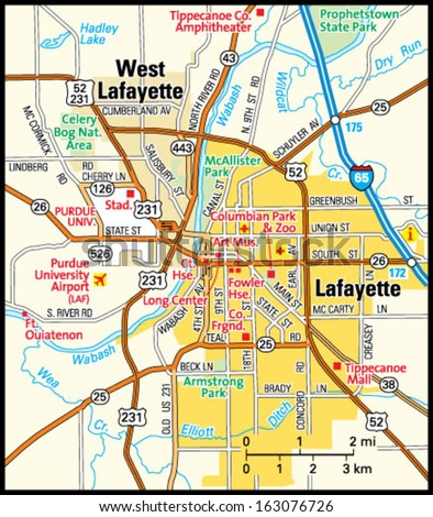 Lafayette Indiana Area Map Stock Vector Shutterstock - Lafayette map