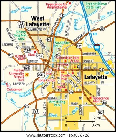 Lafayette Indiana Area Map Stock Vector 163076726 Shutterstock