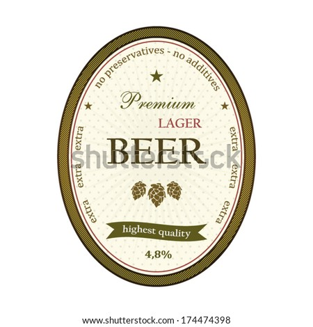 Lager beer label beige and gold edition illustration - stock vector
