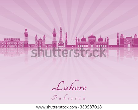 Lahore skyline in purple radiant orchid in editable vector file - stock vector