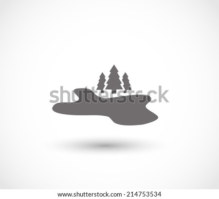 Lake and forest icon vector - stock vector