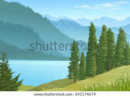 Lake in the center of a mountainous region - stock vector