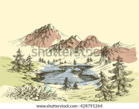 Lake in the mountains - stock vector