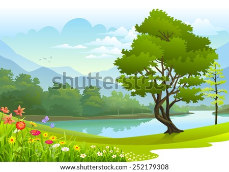 Lake surrounded by lush greenery - stock vector