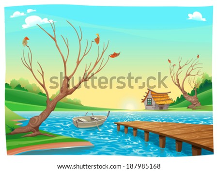 Lake with boat. Cartoon and vector illustration. - stock vector