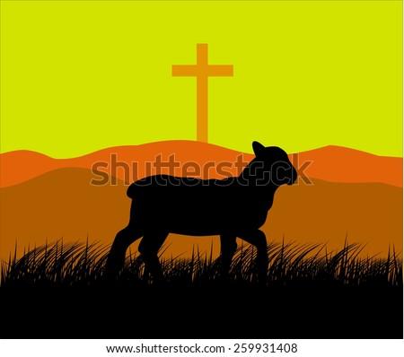 Lamb and cross  - stock vector