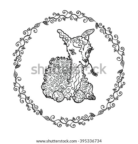 Lamb drawn by a marker in a frame of a vegetative ornament. Coloring for adults vector illustration . Character llama or a lamb and floral ornament.