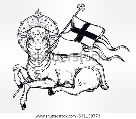 Lamb Of God Christian Symbol With Flag And Halo Agnus Dei In Latin Beautiful