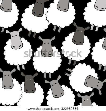 lamb sheep vector animal illustration cute farm wool mammal white nature cartoon - stock vector