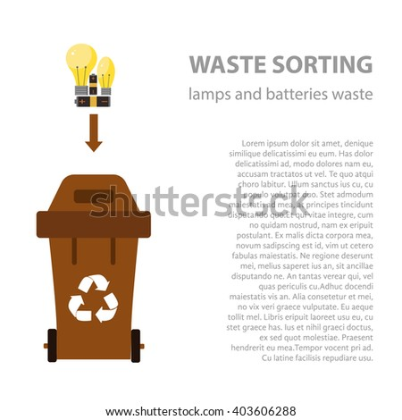 Lamp and battery waste sorting flat concept.  Vector illustration of lamp and battery  waste. Lamp and battery waste recycling categories and garbage disposal.  Lamp waste types sorting management . - stock vector