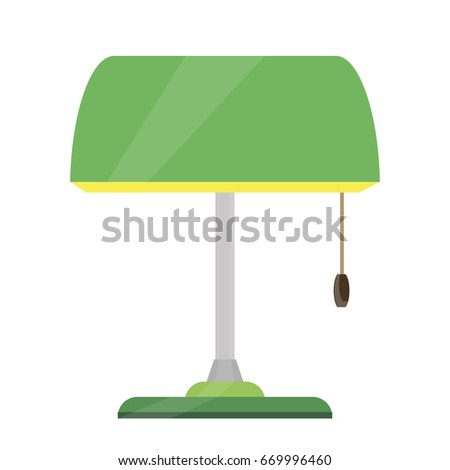 Lamp Bankers Vector Desk Illustration Green Icon Bank Base Brass Design  Office Style Isolated