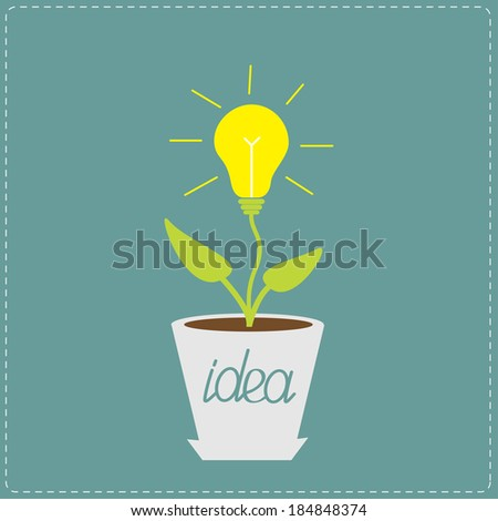 Lamp bulb plant in the pot. Growing idea concept.  Vector illustration. - stock vector