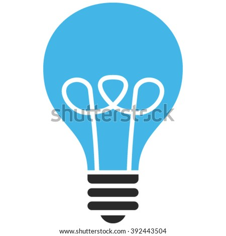 Lamp Bulb vector icon. Image style is bicolor flat lamp bulb pictogram drawn with blue and gray colors on a white background. - stock vector