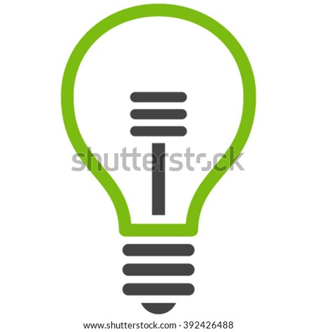 Lamp Bulb vector icon. Lamp Bulb icon symbol. Lamp Bulb icon image. Lamp Bulb icon picture. Lamp Bulb pictogram. Flat eco green and gray lamp bulb icon. Isolated lamp bulb icon graphic. - stock vector