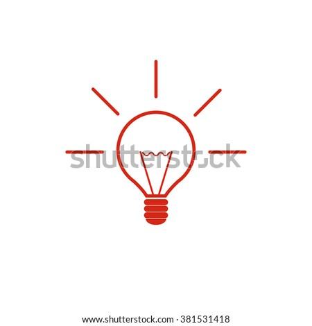 Lamp bulb. Vector icon red